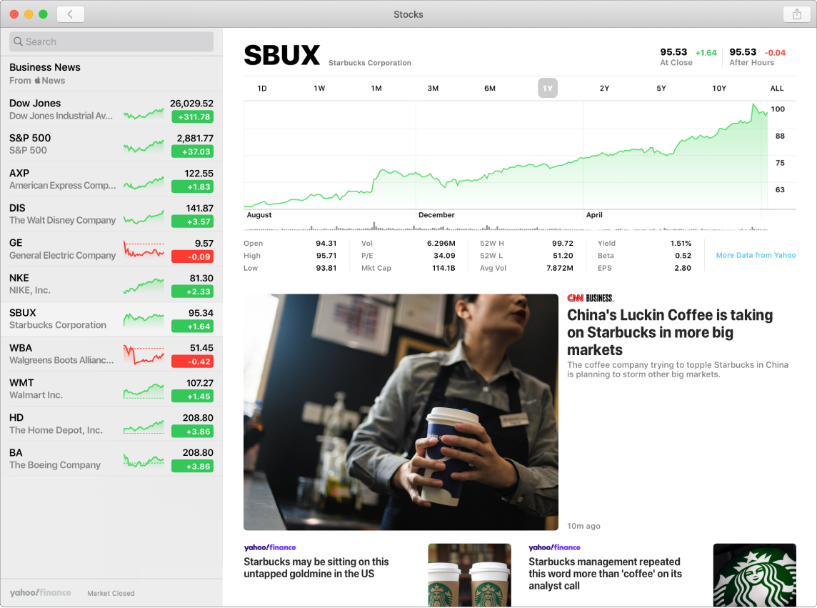 A Stocks screen showing information and stories about the selected stock, Starbucks.