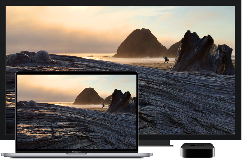 A MacBook Pro with its content mirrored on a large HDTV using an AppleTV.
