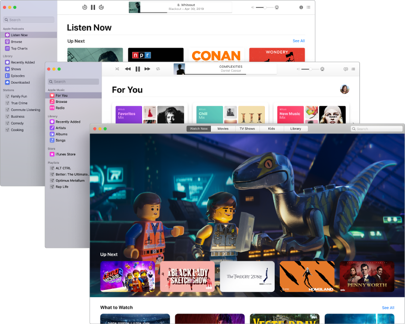 Overlapping screens of the media apps—Podcasts, Music, and Apple TV—with Apple TV in front showing The Lego Movie 2: The Second Part.