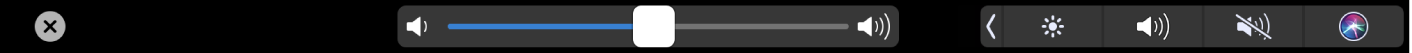 The iMovie Touch Bar showing the volume slider.