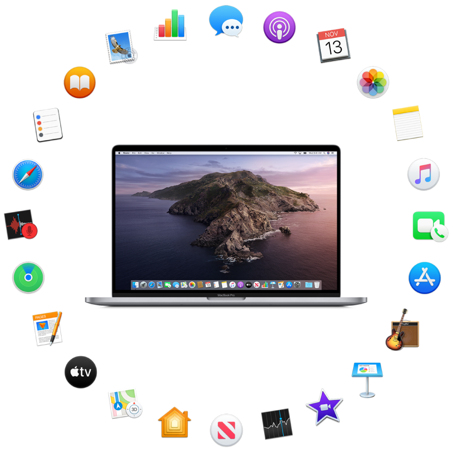A MacBook Pro surrounded by the icons for the built-in apps described in the following sections.