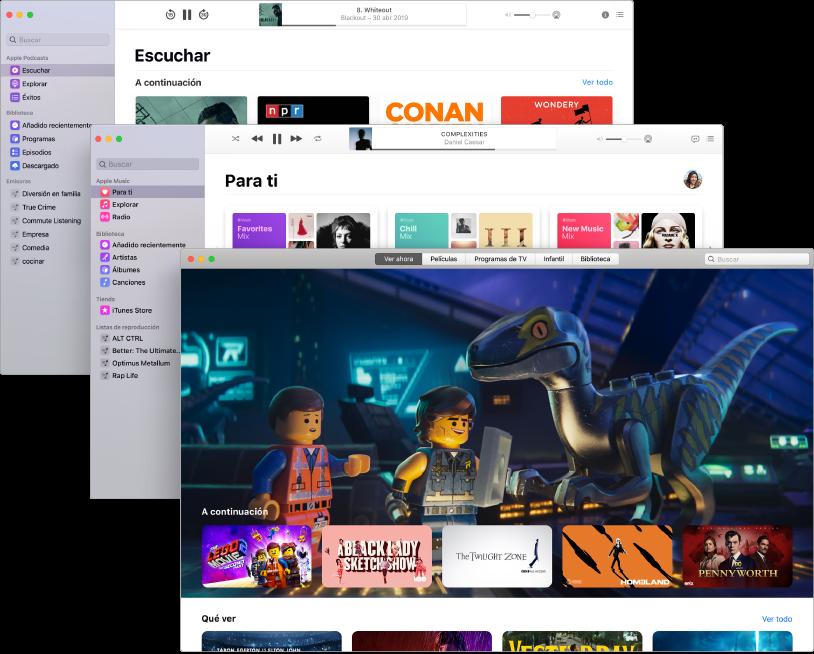Pantallas superpuestas de las apps de contenido multimedia (Podcasts, Música y AppleTV) con AppleTV en primer plano mostrando La Lego Película 2.