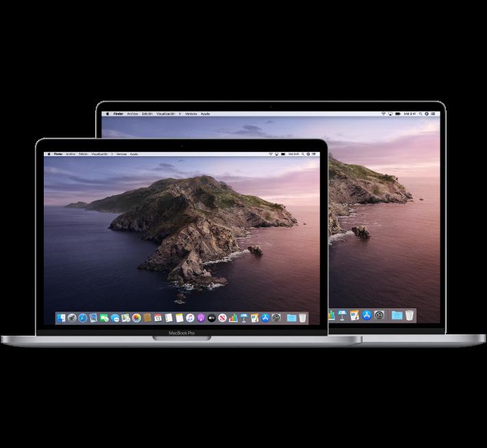 Un ordenador MacBookPro de 13pulgadas delante de un MacBookPro de 16pulgadas.