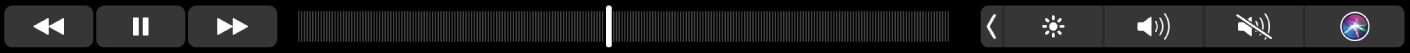 TouchBar de Musique avec des boutons pour revenir en arrière, mettre en pause ou faire avancer le contenu en cours de lecture. Il existe également une barre de défilement permettant de parcourir un morceau.
