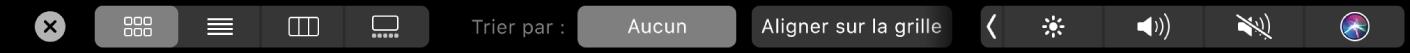 TouchBar duFinder affichant des options de présentation et de tri.