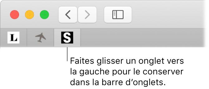 Une fenêtre de Safari montrant comment créer un repère pour un onglet dans la barre d'onglets.