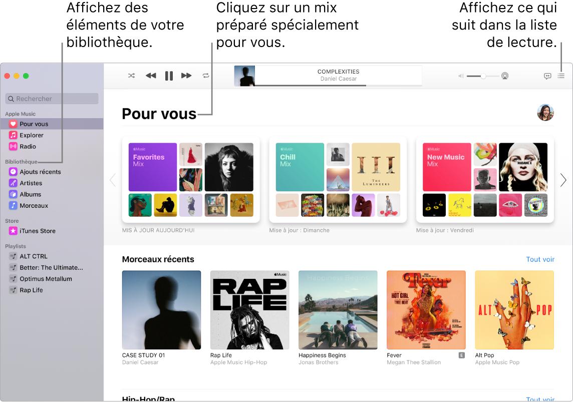 La fenêtre de l'app Musique indiquant comment afficher votre bibliothèque, écouter AppleMusic et voir le prochain morceau.