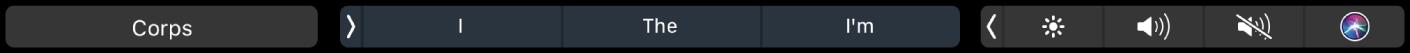 TouchBar dePages affichant le bouton correspondant aux styles de paragraphe, ainsi que des suggestions.