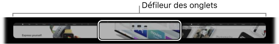 Défileur des onglets dans la TouchBarde Safari. Il affiche un petit aperçu de tous les onglets ouverts.