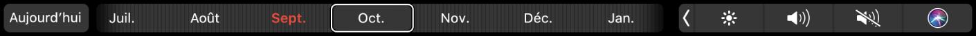 TouchBar deCalendrier avec le bouton Aujourd'hui et un curseur pour sélectionner un mois.
