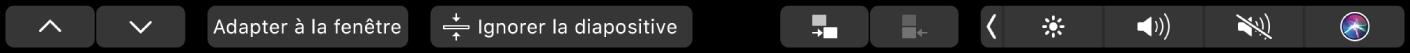 TouchBar deKeynote affichant les boutons fléchés, les boutons Adapter à la fenêtre et Ignorer la diapositive, ainsi que les boutons permettant d'indenter et de désindenter la diapositive.