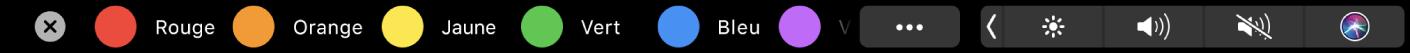 TouchBar duFinder affichant les tags que vous pouvez appliquer.