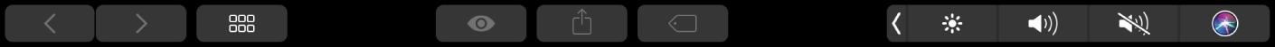 TouchBar duFinder avec des boutons permettant de changer de présentation, d'afficher un aperçu, de partager du contenu et d'ajouter des tags.