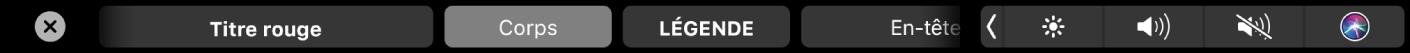 TouchBar dePages affichant des styles de mise en forme de paragraphe, notamment Titre, Sous-section et Légende.