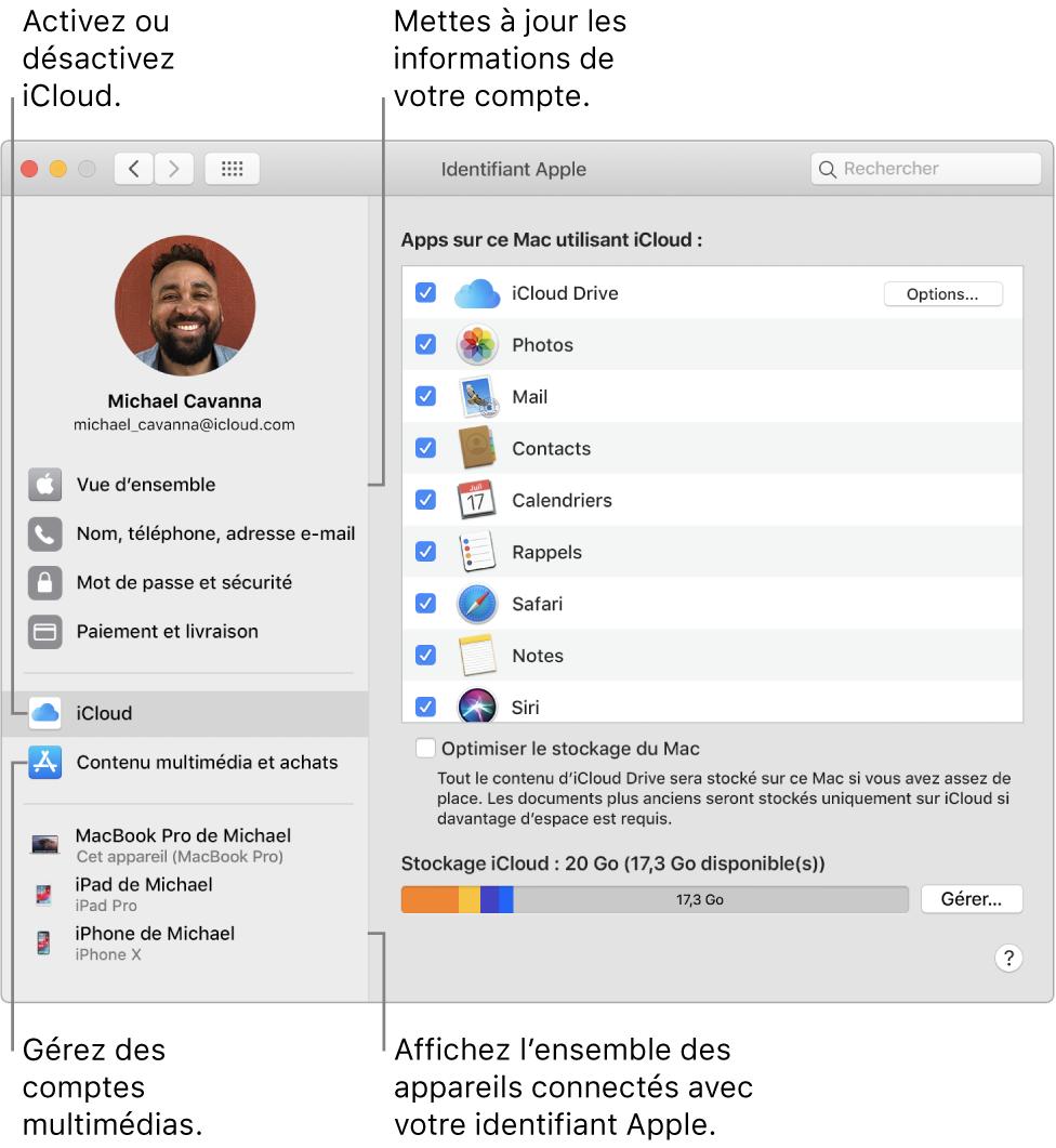 La sous-fenêtre «Identifiant Apple» de «Préférences Système». Cliquez sur un élément de la barre latérale pour mettre à jour les données de votre compte, activer ou désactiver iCloud, gérer les comptes multimédias ou voir tous les appareils connectés avec votre identifiantApple.