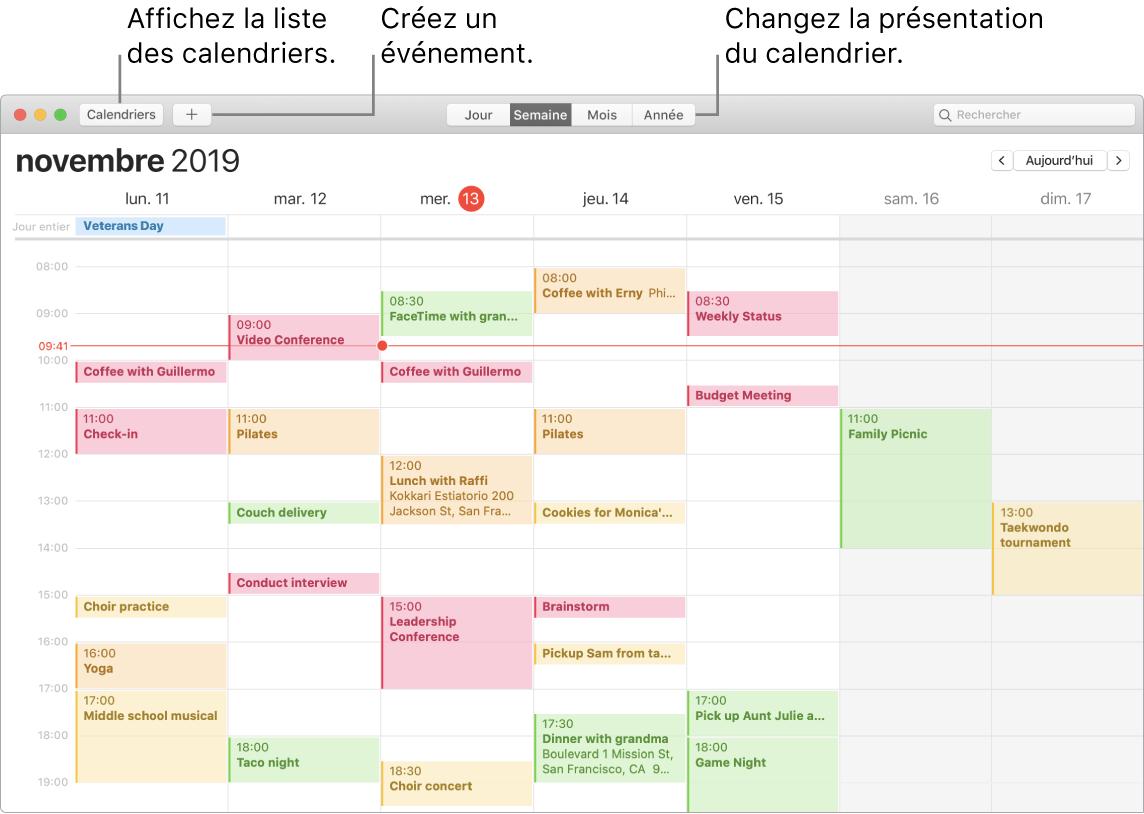 Une fenêtre de Calendrier indiquant comment créer un événement, obtenir la liste des événements et choisir une présentation par jour, par semaine, par mois ou par année.