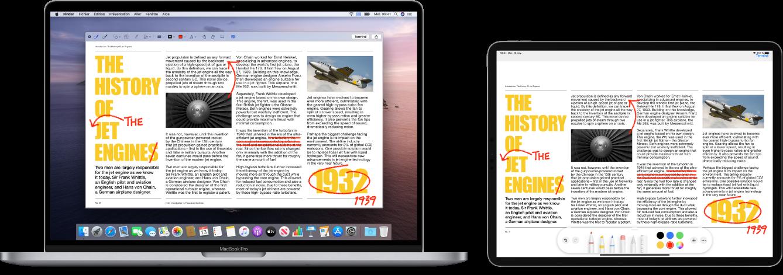 Un MacBookPro et un iPad côte à côte. Les deux écrans affichent un article couvert de modifications griffonnées en rouge, telles que des phrases barrées, des flèches et des mots ajoutés. L'iPad montre également des commandes d'annotation au bas de l'écran.