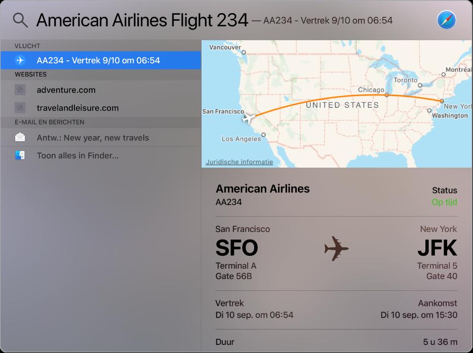 Het Spotlight-venster met een kaart en vluchtinformatie voor de vlucht waarop is gezocht.