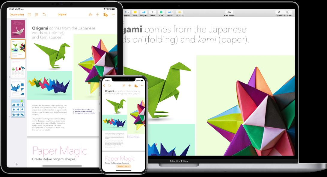 Identieke inhoud weergegeven op een MacBookPro, een iPad en een iPhone.