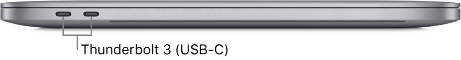 Het linkeraanzicht van een MacBookPro met bijschriften voor de Thunderbolt3-poorten (USB-C).