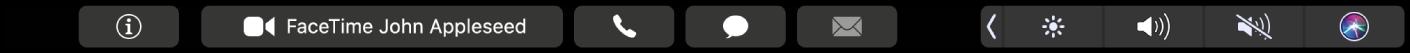 De TouchBar voor FaceTime met knoppen om informatie over een contactpersoon weer te geven, een video- of audiogesprek te voeren en een bericht of e-mail te versturen.