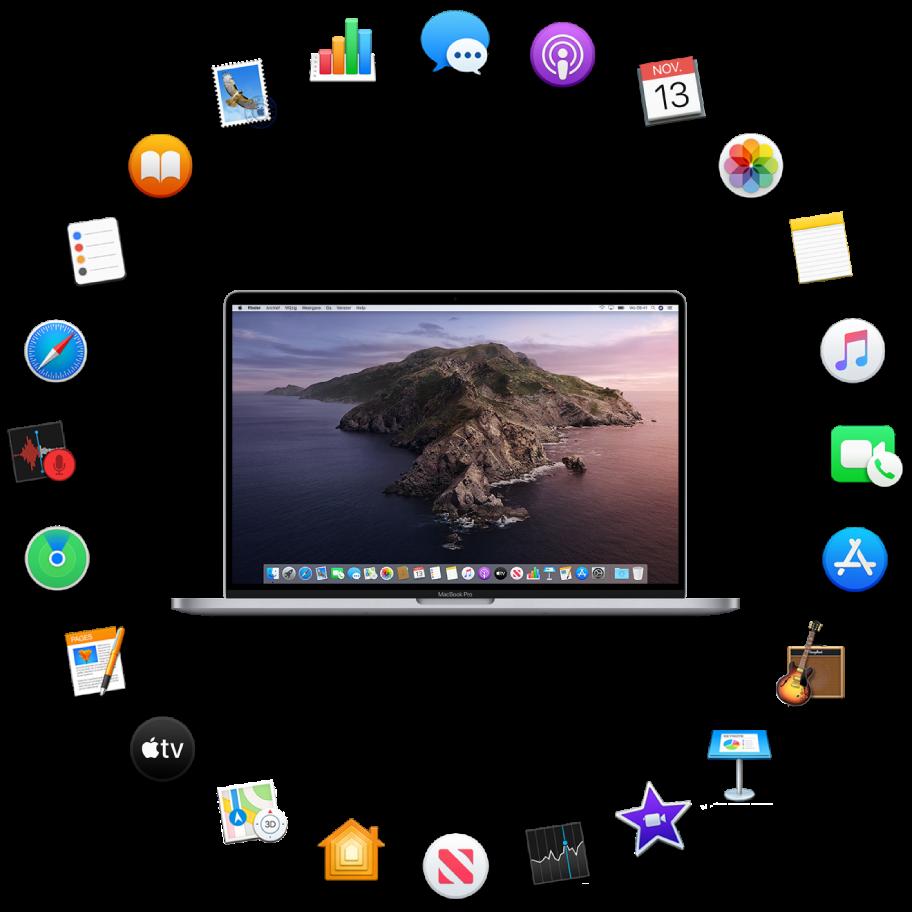 Een MacBookPro omringd door symbolen voor de apps die standaard worden meegeleverd en die hierna worden beschreven.