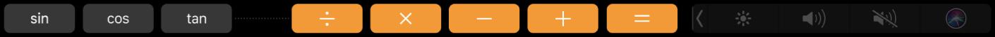 De TouchBar voor Rekenmachine waarin nu de extra functies te zien zijn.