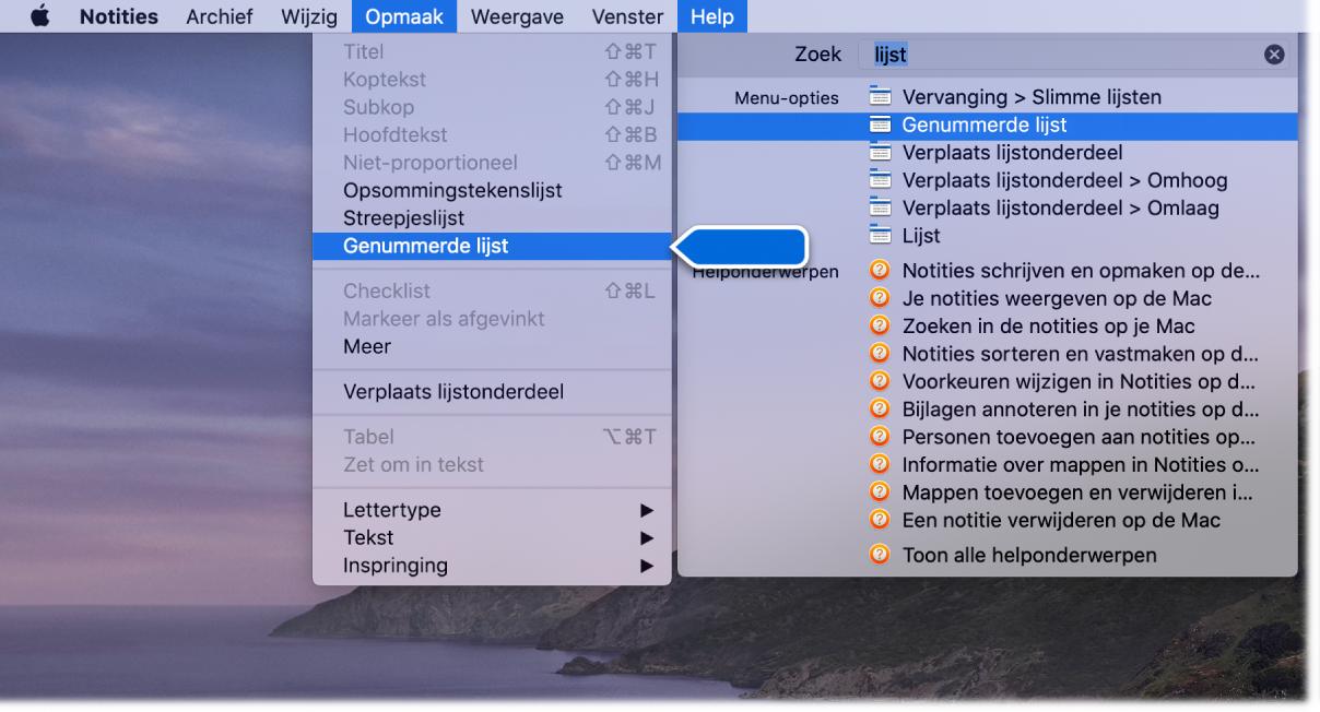 """Het Help-menu met een zoekopdracht """"lijst"""" met het commando 'Lijst met opsommingstekens' gemarkeerd in de lijst met resultaten en in het Opmaak-menu."""
