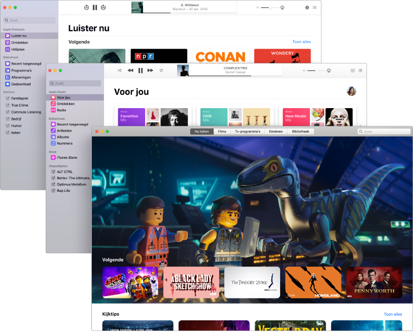 Overlappende schermen van de media-apps (Podcasts, Muziek en Apple TV) met in de voorgrond een Apple TV met The LEGO Movie 2: The Second Part op de Apple TV.