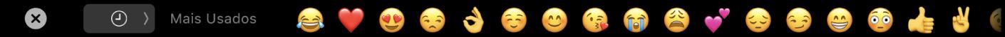 A TouchBar do Mensagens mostrando as opções de Emojis utilizados frequentemente e o botão para seleção de diferentes categorias de Emoji.