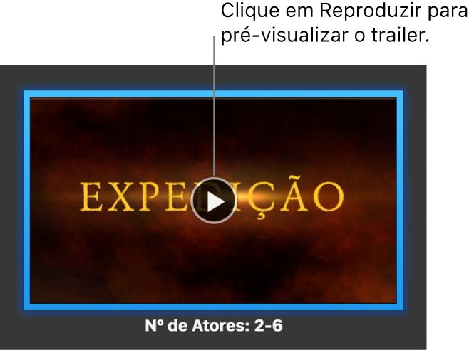 A tela de trailer do iMovie mostrando o botão Reproduzir.