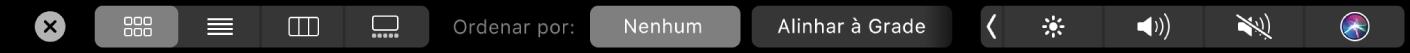 A TouchBar do Finder mostrando opções de visualização e ordenação.