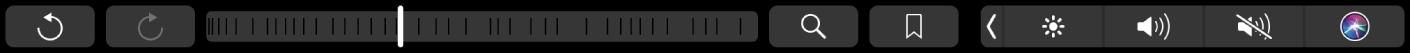 A TouchBar do app Livros mostrando os botões para frente e para trás, o seletor de páginas e os botões de busca e marcador.