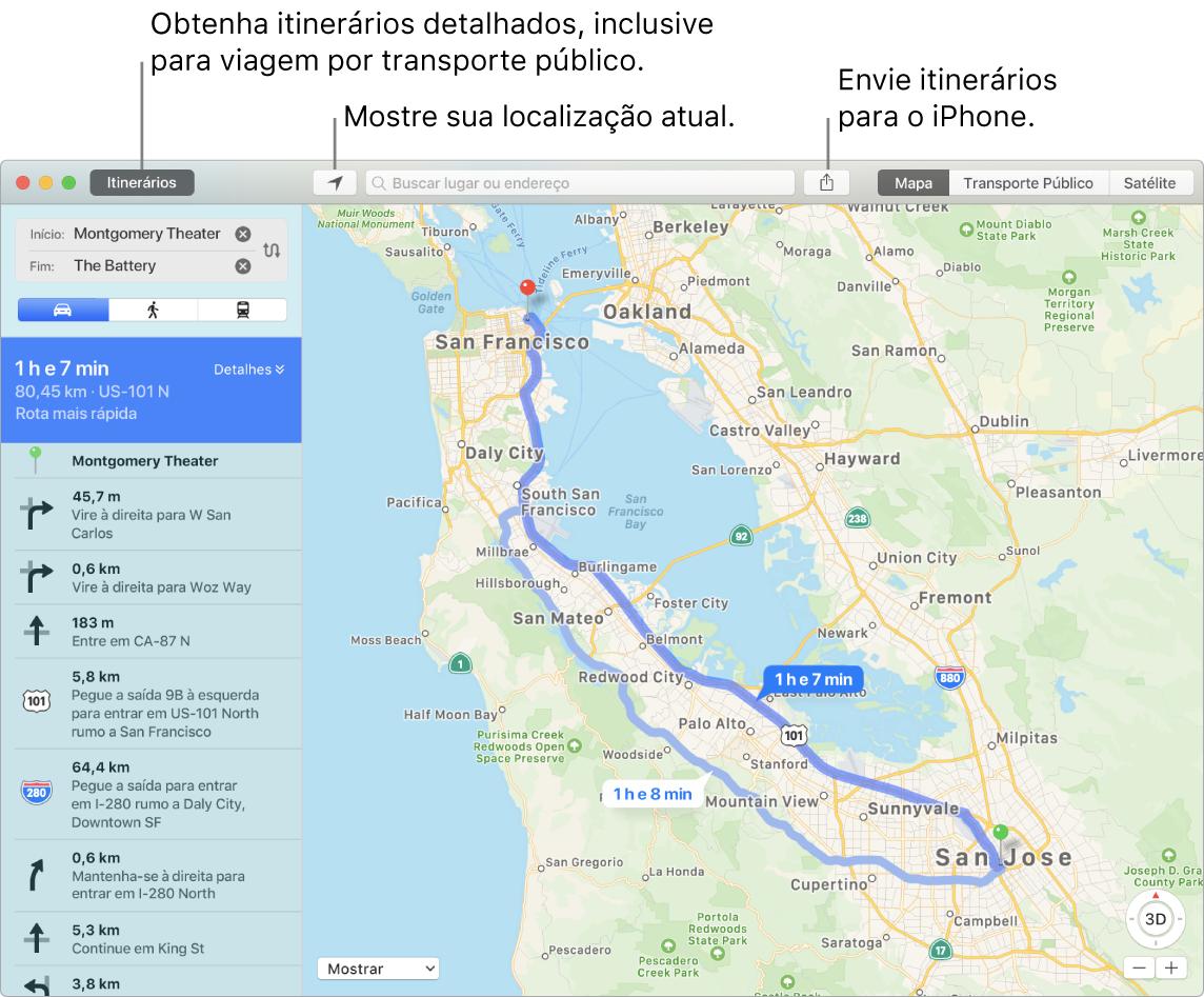 Uma janela do app Mapas mostrando como clicar em Itinerários na parte superior esquerda para obter itinerários e como enviar itinerários para o iPhone usando o botão Compartilhar.