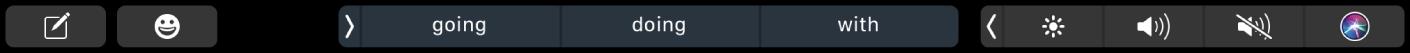 TouchBar do Mensagens com botões para criar uma mensagem e inserir emojis. Também há botões mostrando sugestões de digitação.
