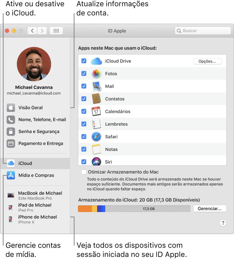 O painel ID Apple nas Preferências do Sistema. Clique em um item na barra lateral para atualizar suas informações de conta, ativar ou desativar o iCloud, gerenciar contas de mídia ou ver todos os dispositivos com uma sessão iniciada com o seu ID Apple.