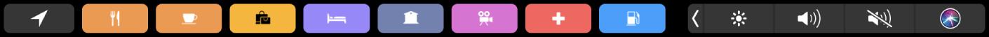 TouchBar do Mapas, mostrando botões para encontrar restaurantes, hotéis, bancos, lojas e outros serviços por perto.