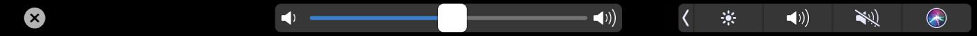 A TouchBar do iMovie mostrando e controle de volume.