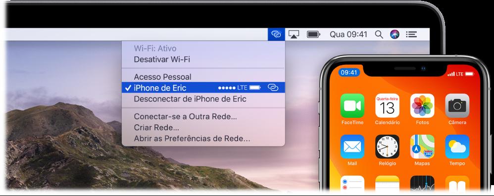 Tela do Mac com o menu Wi-Fi, mostrando um Acesso Pessoal conectado a um iPhone.