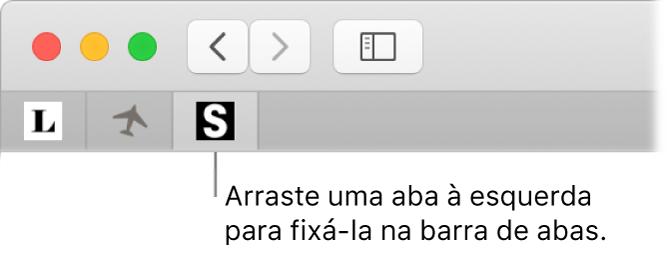 Uma janela do Safari mostrando como fixar uma aba na barra de abas.