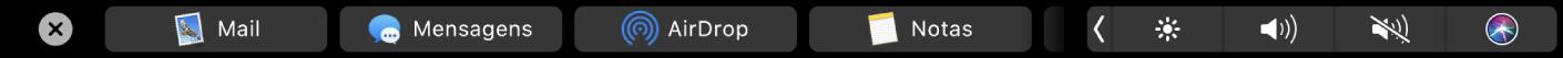 A TouchBar do Finder mostrando opções de compartilhamento.