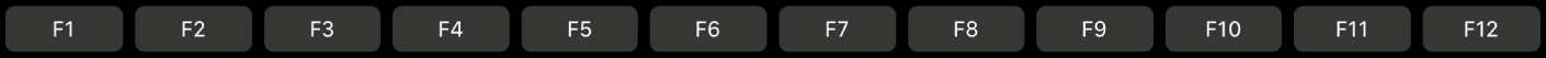 TouchBar ที่มีปุ่มฟังก์ชั่นต่างๆ ตั้งแต่ F1 ถึง F12
