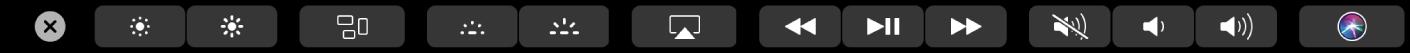 TouchBar ที่มี Control Strip ที่เปิดไว้ที่แสดงปุ่มต่างๆ สำหรับความสว่างของหน้าจอ, Mission Control, Launchpad, ความสว่างแป้นพิมพ์, แถบควบคุมสื่อ, ระดับเสียง และ Siri