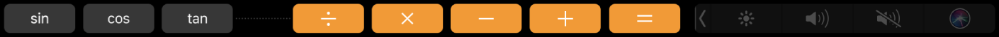 TouchBar สำหรับแอพเครื่องคิดเลขหลังจากที่แก้ไขแล้ว โดยแสดงฟังก์ชั่นที่คุณเพิ่ม