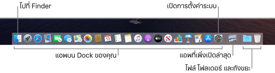 Dock ที่แสดง Finder, การตั้งค่าระบบ และเส้นใน Dock ที่แบ่งแอพออกจากไฟล์และโฟลเดอร์