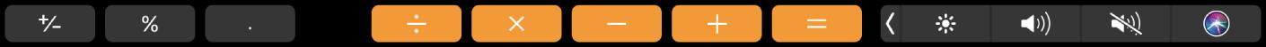 TouchBar สำหรับแอพเครื่องคิดเลข