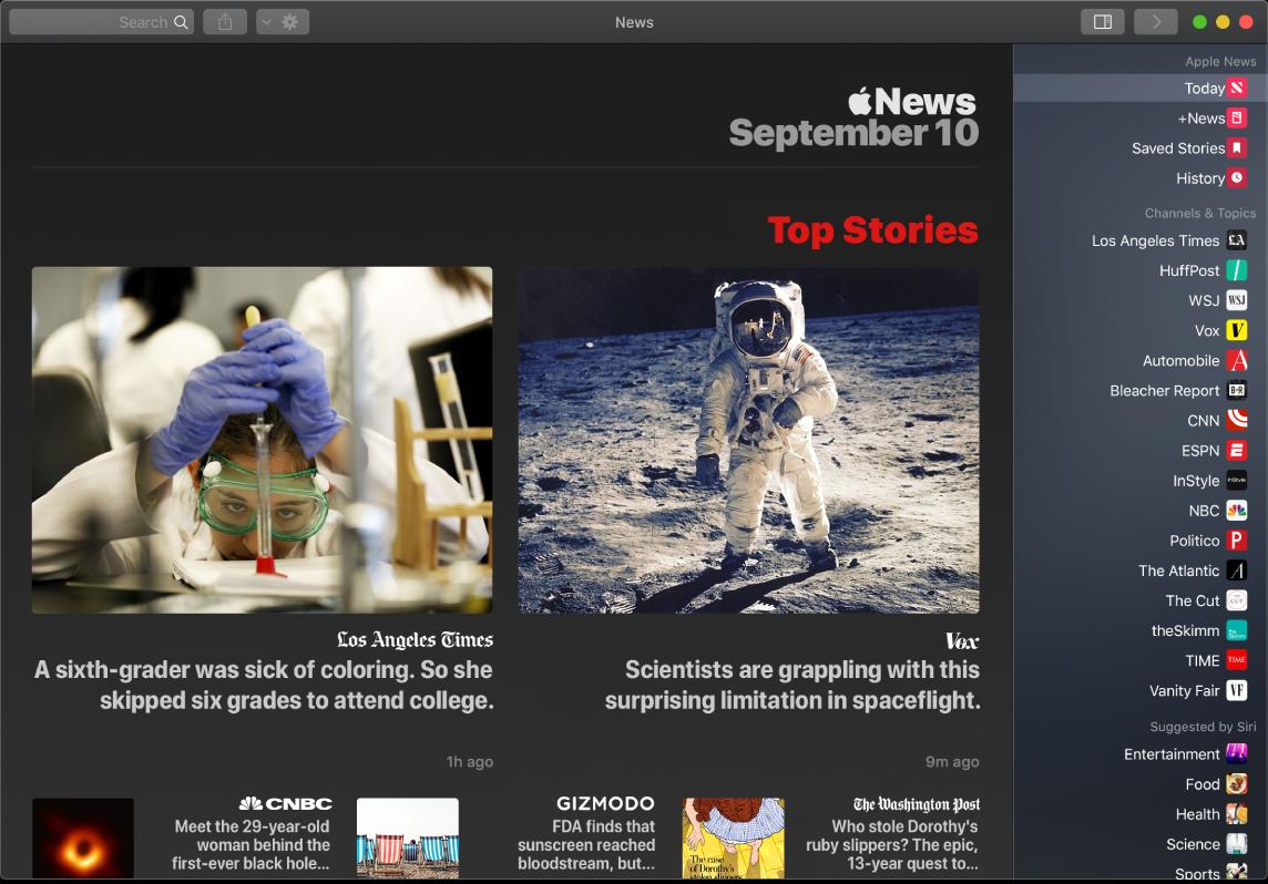 نافذة في News تعرض قائمة المراقبة بجانب TopStories.