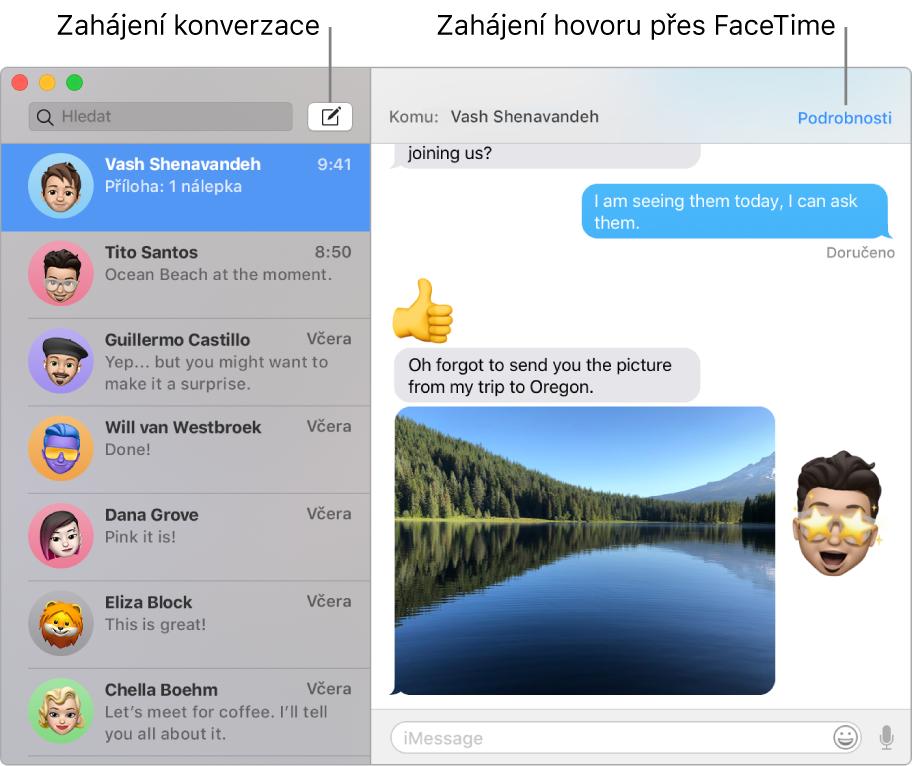 Okno Zprávy sinformacemi otom, jak zahájit konverzaci nebo hovor FaceTime