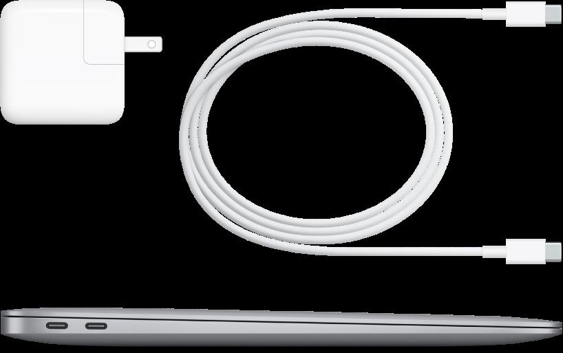 Boční pohled na MacBookAir sdodávaným příslušenstvím