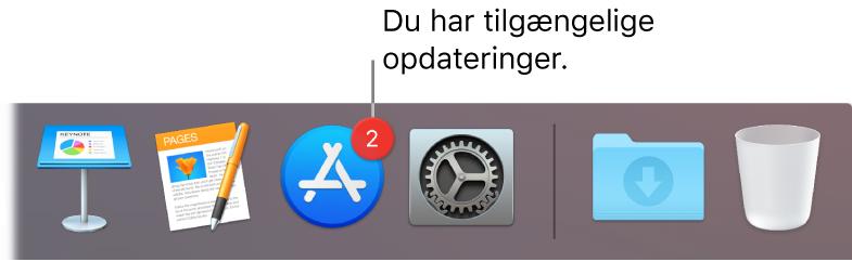En del af Dock, der viser symbolet for App Store med et mærke, som viser, at der er tilgængelige opdateringer.